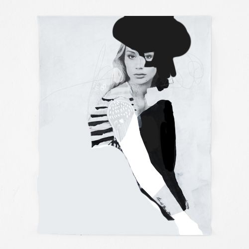 black and white fashion illustration + collage on paper / erin flannery [erinart.net]