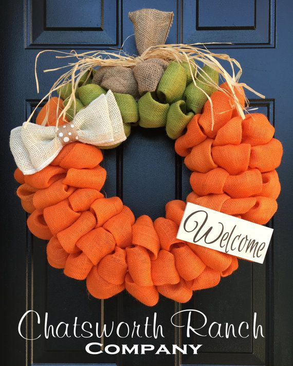 Made with yards & yards of fluffy burlap, this pumpkin themed wreath is PERFECT for the Fall!!! The wreath photographed in this listing is