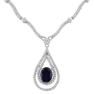 Silver cubic zirconia and synthetic blue sapphire necklace. NEC-SIL-0108