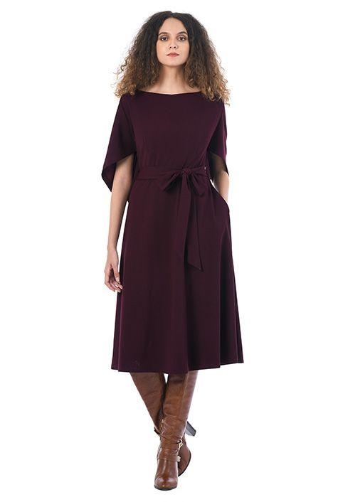 Cape sleeve jersey knit dress #eShakti