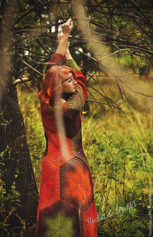"""Купить Платье """"Индейское бабье лето"""" авторское спицами из овечьей ш - авторское платье"""