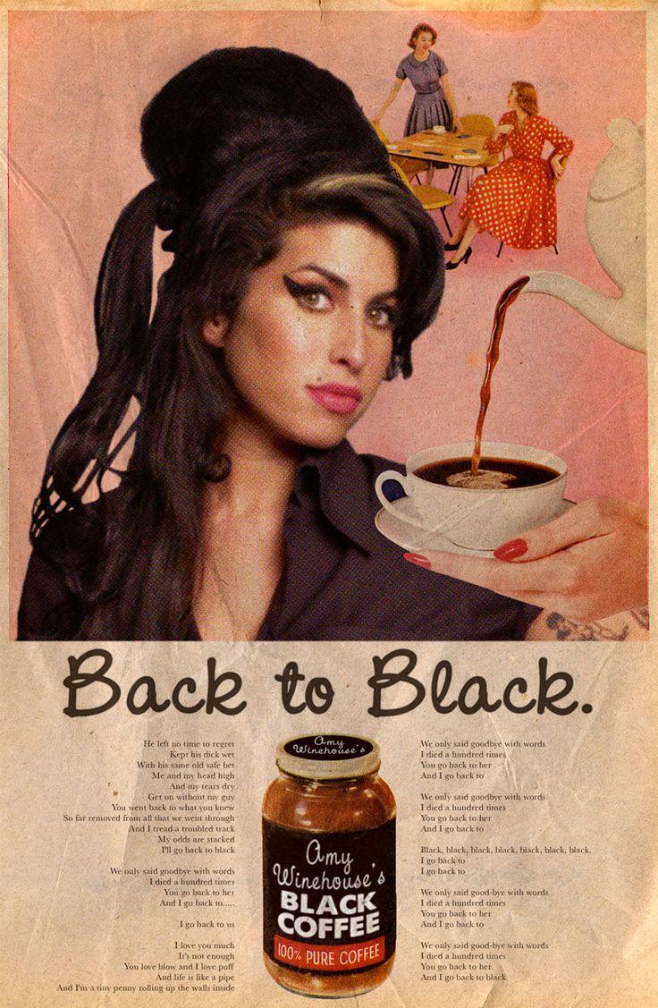 Campaña mezcla anuncios vintage con temas y artistas actuales: Back to Black / Amy Winehouse © David Redon
