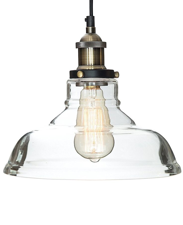 "Glass Pendant Light ""The Loft"" with Vintage Edison Light Bulb - Gorgeous Single Bulb Chandelier Lighting - Industrial Design, Clear Glass Pendant - Use code PENDANT10 and get 10% off when you buy two or more"