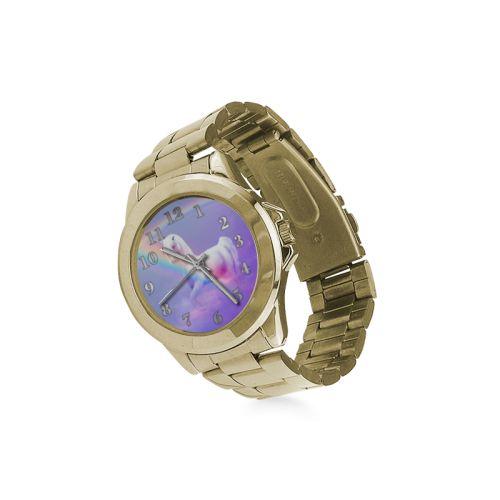 Unicorn and Rainbow Unisex Gilt Watch. FREE Shipping. #artsadd #watches #unicorn