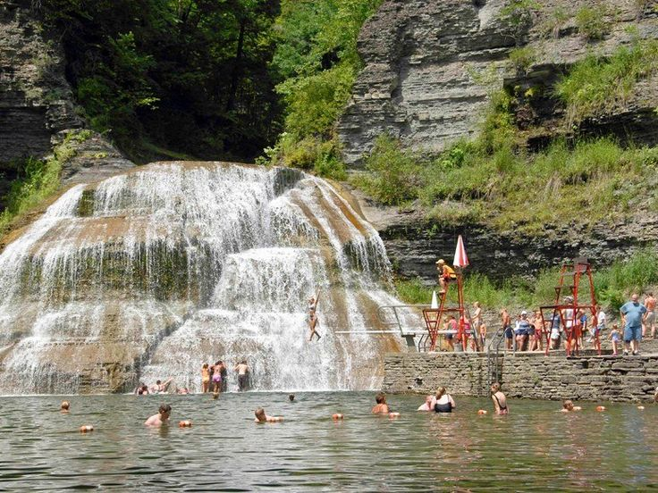 ROBERT H. TREMAN STATE  Ithaca, New York    This upstate New York park is a place of geological wonders and rugged beauty, with miles upon miles of hiking trails, a scenic gorge known as Enfield Glen and a dozen natural waterfalls—one of which you can swim up under in the park's designated, stream-fed swimming area.