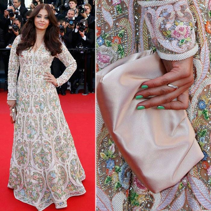 aishwariya at Cannes 2013, outfit by Abujani and Sandeep