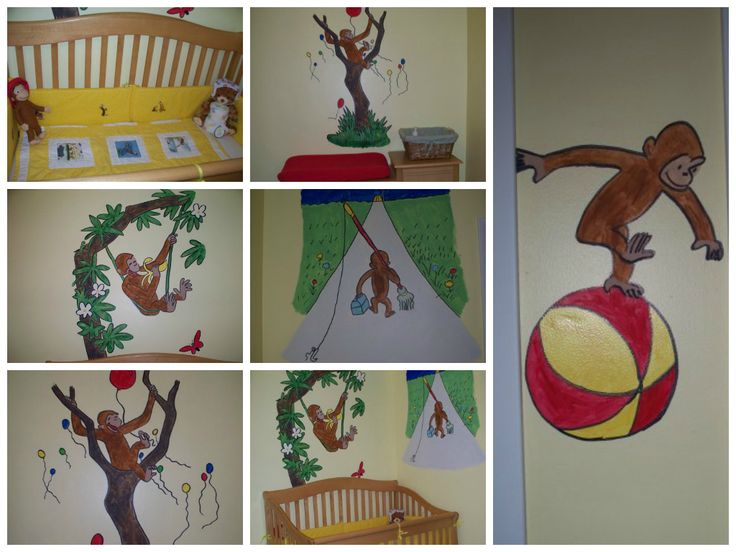 17 best images about nursery ideas on pinterest pottery for Curious george mural