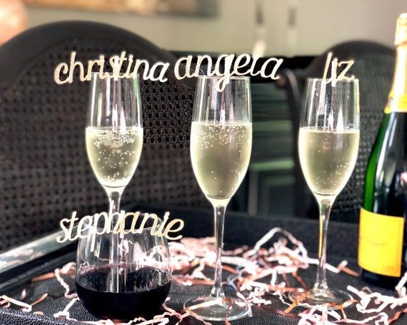 Sparkly Wine Glass Charms Drink Tags Wedding NEW
