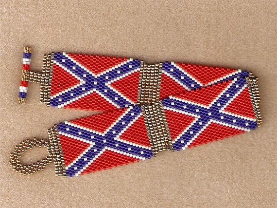 Confederate rebel flag bracelet by beaderrific on etsy for Patriotic beaded jewelry patterns