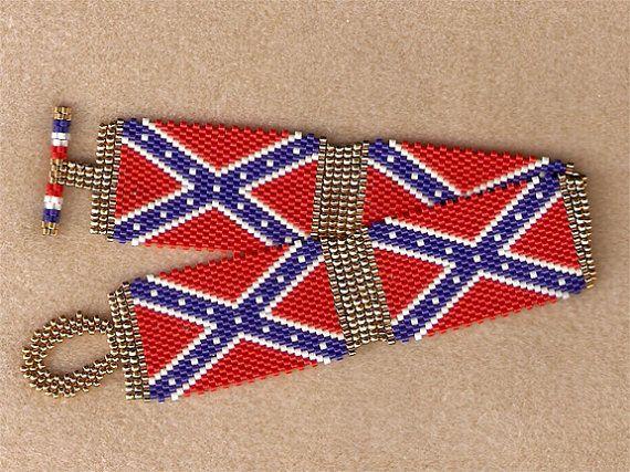 confederate rebel flag bracelet by beaderrific on etsy