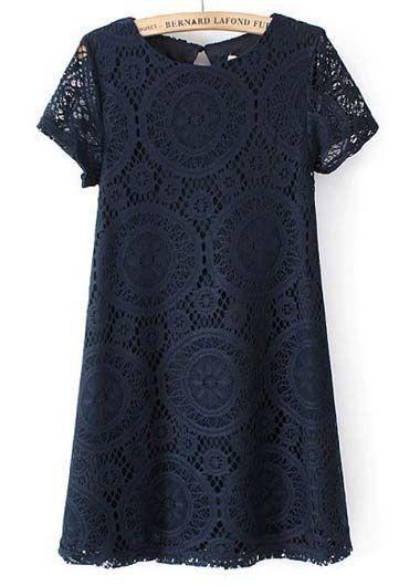 Navy Blue Shift Dress with Circular Crochet Pattern