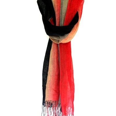 """The strong poppy-like color is easily to catch your eyes. Fringed shawl size scarf can wrap your shoulder in the beautiful fall evening. Pure linen with special """"rough"""" but tasteful touch."""