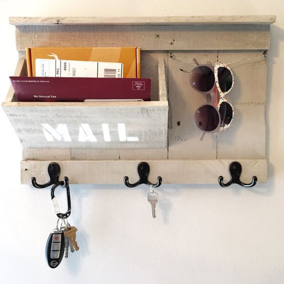 Mail / Keys / Sunglasses holder made from reclaimed pallet wood - Entryway Organizer: