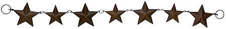 """24"""" Primitive Rusted Tin Star Garland  $7.49  Item# 655797  Rustic star garland consists of 7 graduated mini rusty barn stars. Use to accent your primitive country home decor or as a western theme accessory."""