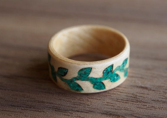 Green leaves wood ring Box elder bentwood ring with by MoonLoops
