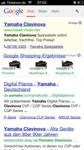 Product Listing Ads (PLA) aus der Google Suchergebnisseite, hier die PLA Ergebnisse bei der Suche nach einem Yamaha Clavinova über das iPhone 5.