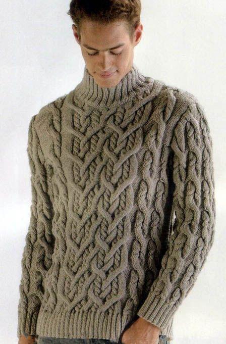связать мужской джемпер с аранами, мужской джемпер с аранами, вязание спицами, вязание для мужчин, джемпер серый с аранами