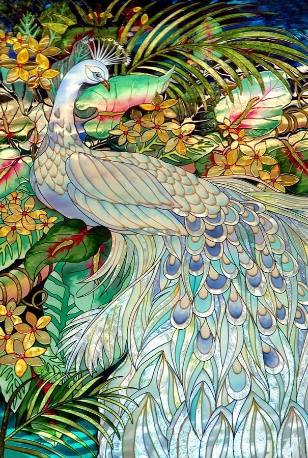 Жар птица рисунок витраж