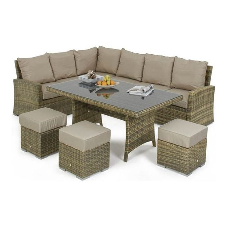 The Tuscany Kingston Corner Dining by Maze Rattan is the elegant answer to your entertaining needs. With a large corner sofa and 3 cushioned footstools which double as seating you and your guests can dine and lounge in style. The Tuscany rattan looks very similar to natural cane but has the advantage of being all-weather. This set can be left outside all year round so there's no fuss when the weather arrives.
