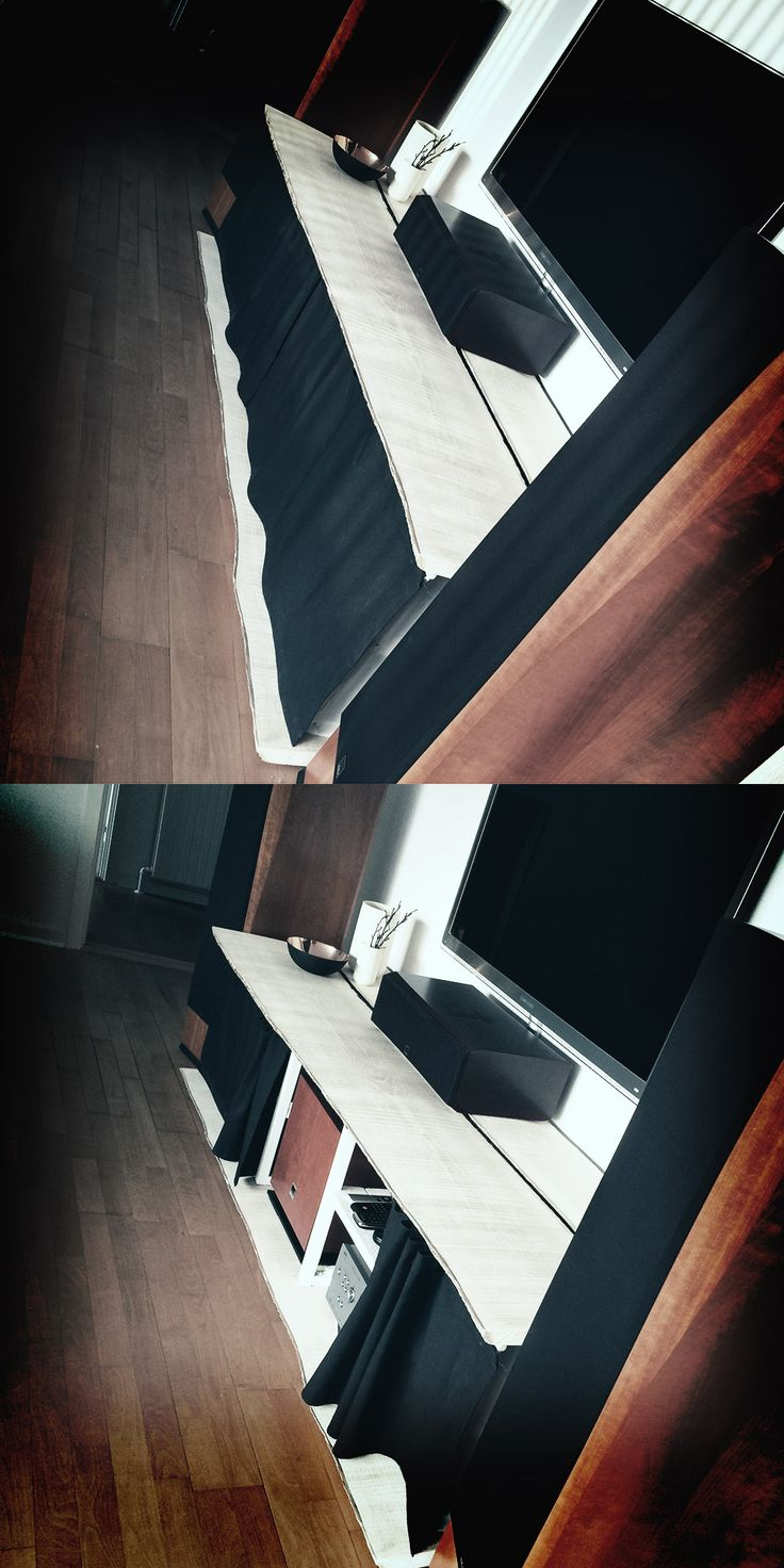 """A """"Simple"""" way to hide most of your hifi  equipment, except your huge speakers ;) The top and bottom is ash wood that is painted with white pigmented wood oil."""