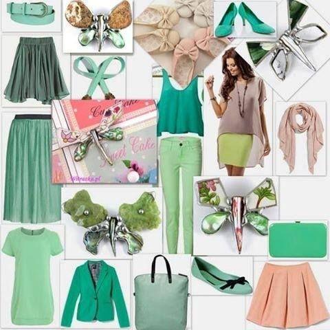 Green pastels.