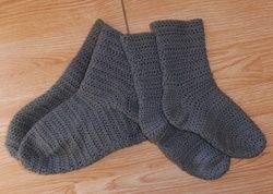 Chaussettes grises - tuto complet au crochet                                                                                                                                                                                 Plus