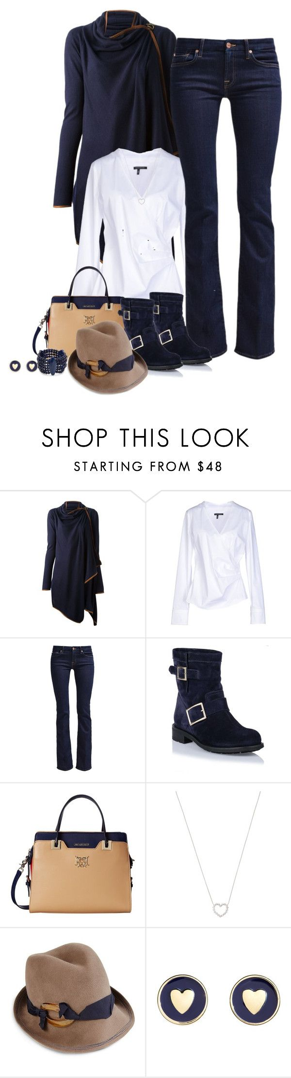 """""""Untitled #320"""" by jessy-james83 ❤ liked on Polyvore featuring Ralph Lauren Blue Label, Strenesse Gabriele Strehle, 7 For All Mankind, Jimmy Choo, Love Moschino, Tiffany & Co., Lola and Brooks Brothers"""