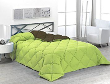 Sabanalia ENBI400-150P/C - Edredón nórdico de 400 g, para cama, color verde y chocolate