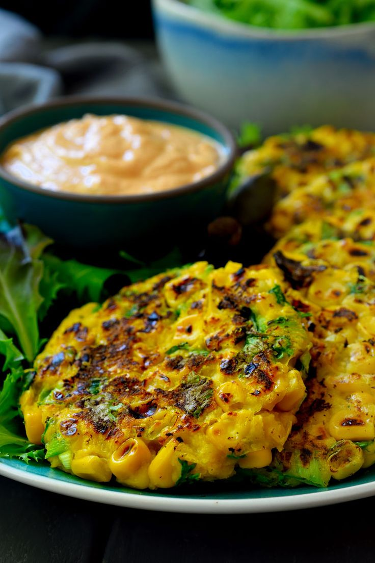 Easy-to-make vegan corn fritters with a delicious maple-chipotle sauce.