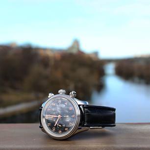 Sjöö Sandström Royal Steel Chronograph Black w. rose gold index.