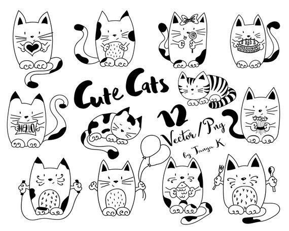 Cats Clip Art Doodles Pet Hand Drawn Vector Commercial Use