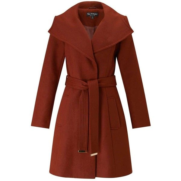 Miss Selfridge Rust Wrap Fit And Flare Coat ($137) ❤ liked on Polyvore featuring outerwear, coats, rust, miss selfridge, wrap coat, brown coat and miss selfridge coats