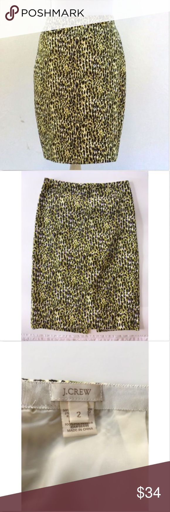"J Crew Leopard Pencil Skirt - Abstract pattern EUC This is the classic No. 2 Pencil Skirt from J. Crew - in a size 2.  Fun ""abstract leopard"" pattern features greens/purples/browns Back zip. Back slit at hem for easy movement Fully lined  Measurements laying flat: Waist:  14.25"" across Length: 23.75""  Like new! J. Crew Skirts Pencil"