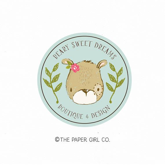 bear logo woodland logo rustic logo baby shop logo