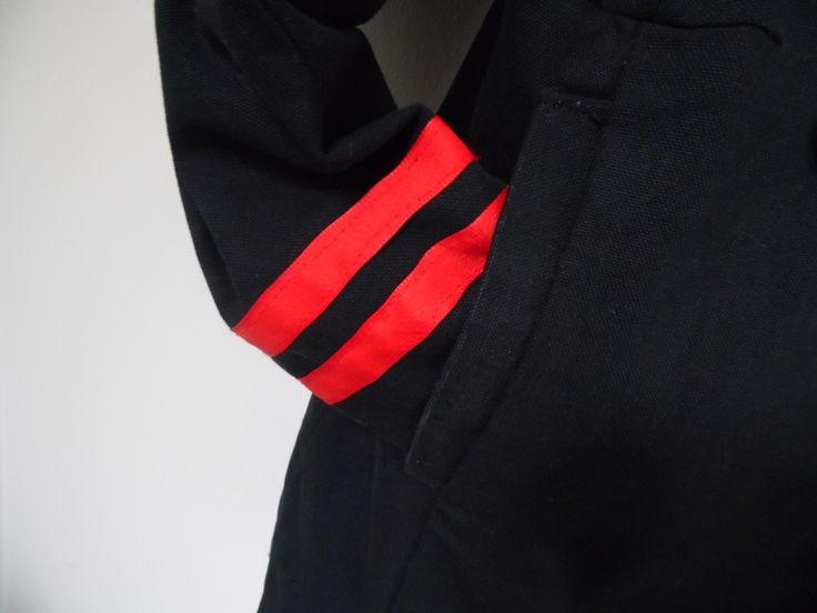 RESERVE Belle Veste longue Homme, en jean noir, style militaire, col officier, pattes d'épaule, 10 boutons acier, : Costumes, vestes par annbcreation