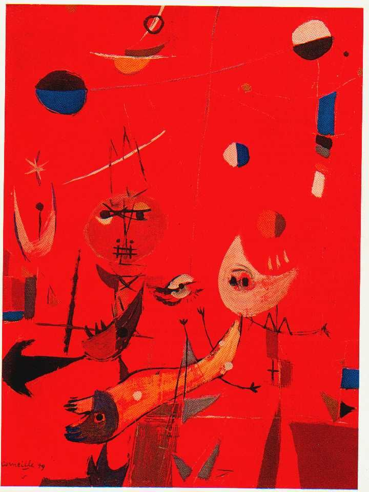 Composition, 1949 by Corneille.  After the War, Corneille was much influenced by the French School, and he was moved by Miró and others.