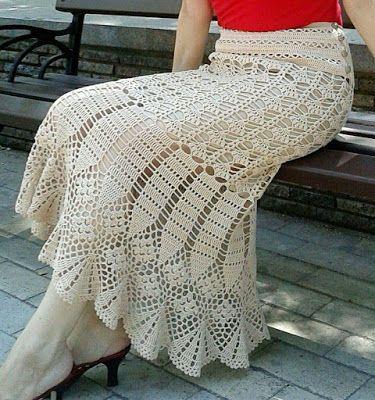 Saia em Crochê com Gráficos - Katia Ribeiro Moda e Decoração Handmade