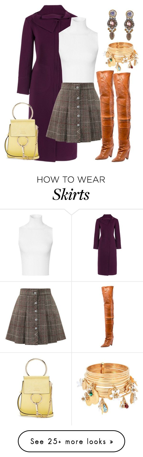 """short skirt and a looooooong jacket"" by katieball4 on Polyvore featuring Roland Mouret, WithChic, Yves Saint Laurent, Chloé, Ayala Bar and Dolce&Gabbana"