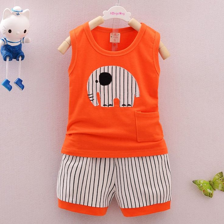 >> Click to Buy << Summer Boys Clothes Sets Kids Clothes Sleeveless Cartoon Elephant Vest + Striped Pants Boys Cotton Clothing Set Hot Selling #Affiliate