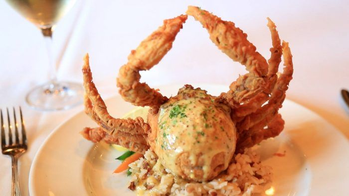 Hallelujah Crab from Juban's in Baton Rouge, Louisiana - a fried soft shell crab stuffed with crawfish tails, shrimp and crabmeat, and topped with creolaise sauce