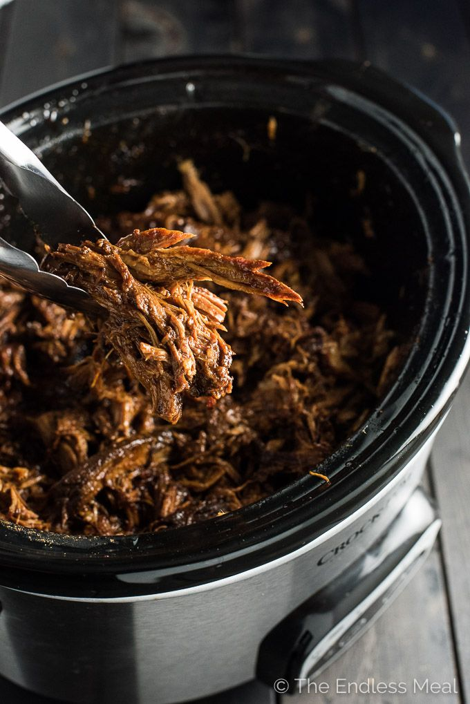 Crock Pot Korean Gochujang Pork is crazy tender and slightly sweet, smoky, and a little spicy. It's a super easy dinner recipe that you will LOVE! | theendlessmeal.com