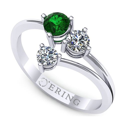 Inel logodna L126ASM inel cu diamante si smarald