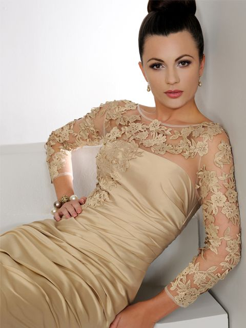 This lovely light gold Irresistible dress has a silk effect fabric along with sheer sleeves covered in an applique detail. Product code IR8501.  View more Mother of the Bride / Groom dresses from our Irresistible collection at: http://www.baroqueboutique.co.uk/mother-of-the-bride-south-wales/  Photographs courtesy of: http://www.irresistibleuk.com/