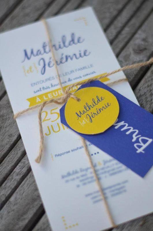 Faire part mariage Mathilde et Jérémie - pictos - jaune - bleu - yellow - wedding - 100% personnalisé - création unique - programme   https://www.facebook.com/lespetitsmooceane/