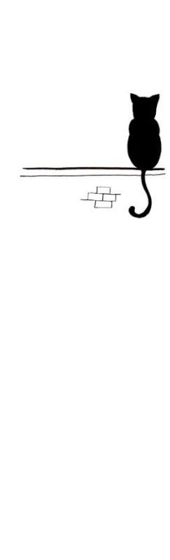 Lonely. Hermosa #ilustracion de un gato sobre una pared