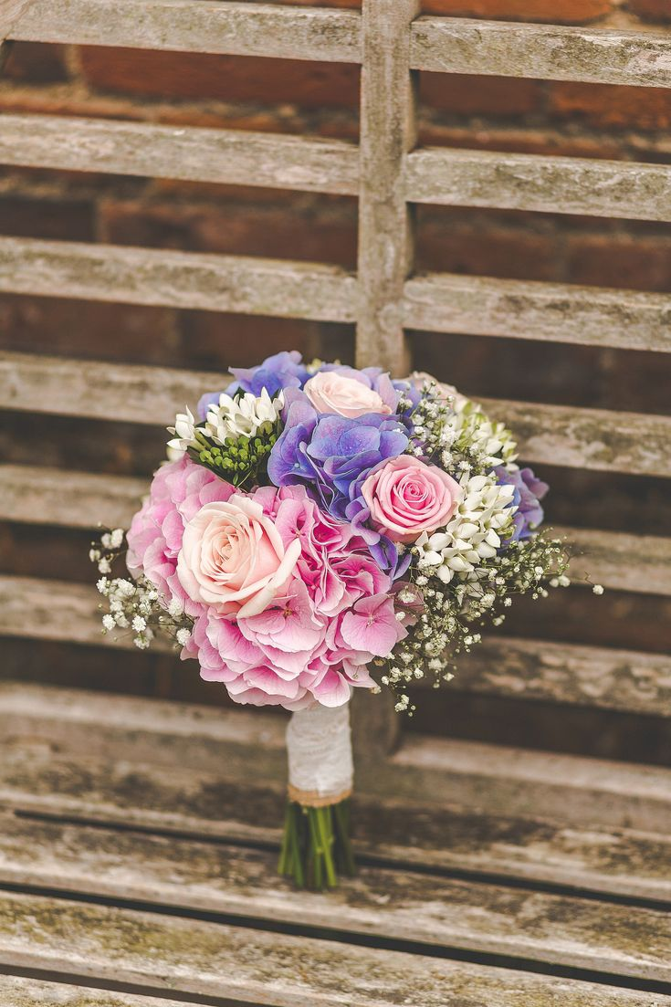 Pale Pink and Purple Hydrangea, Gypsophila, Roses, Bouvardia Bridal Bouquet