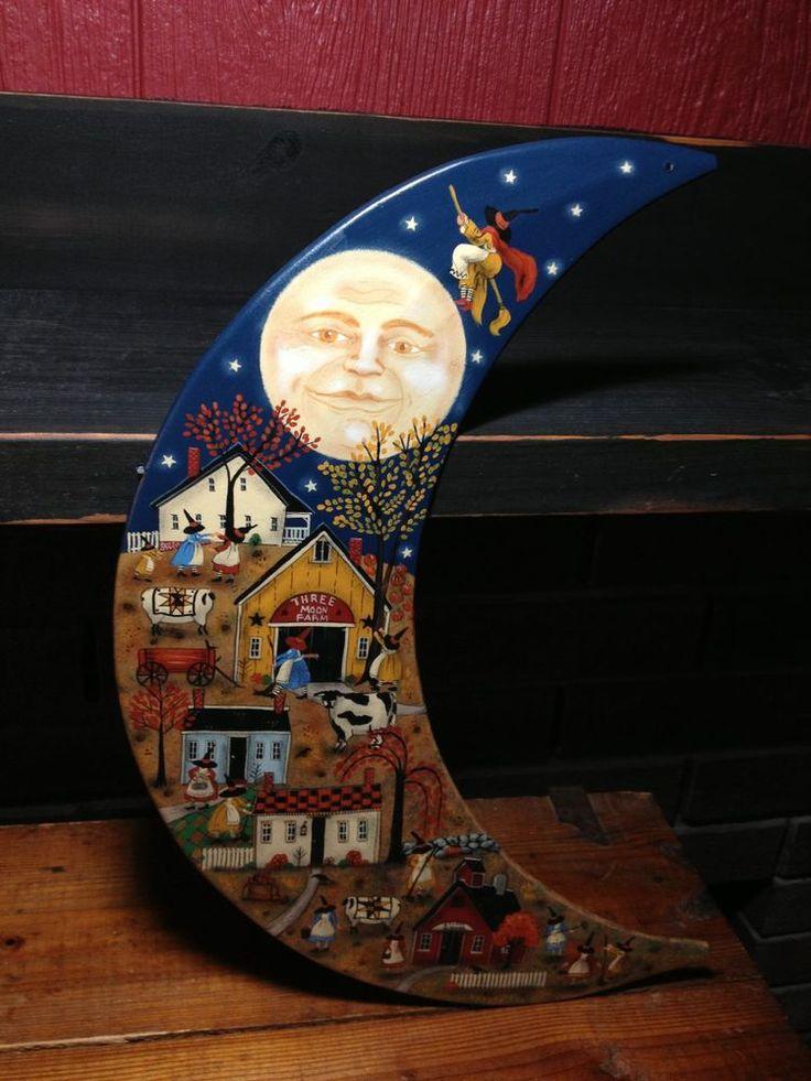 OOAK, New England Prim Folk Art Witches Village Painting on Tin Moon