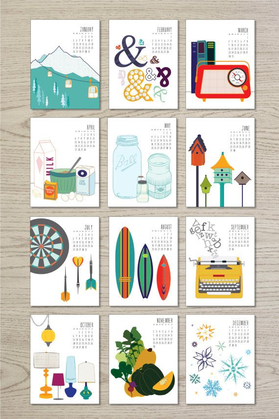 2014 Calendar, available as a printable or in hard copy! https://www.etsy.com/shop/JulieDearDesign
