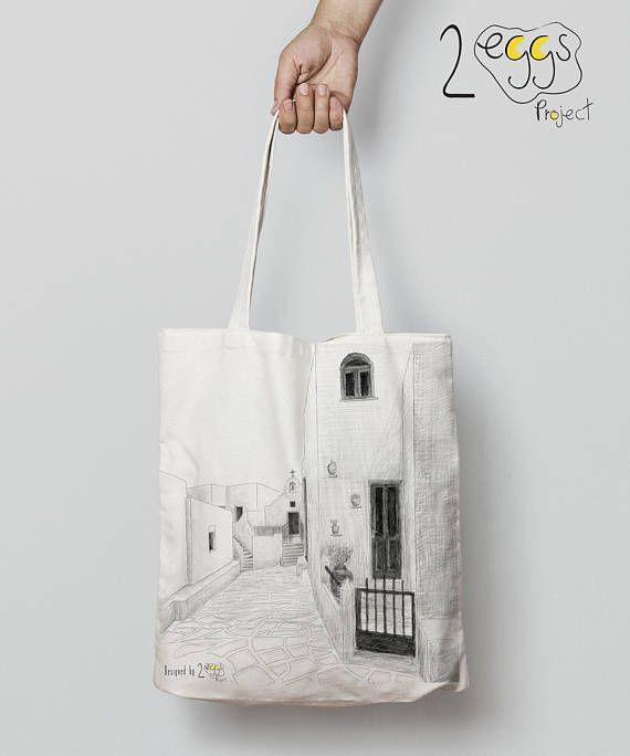 Paros bag Tote bag canvas greek islands art tote bag