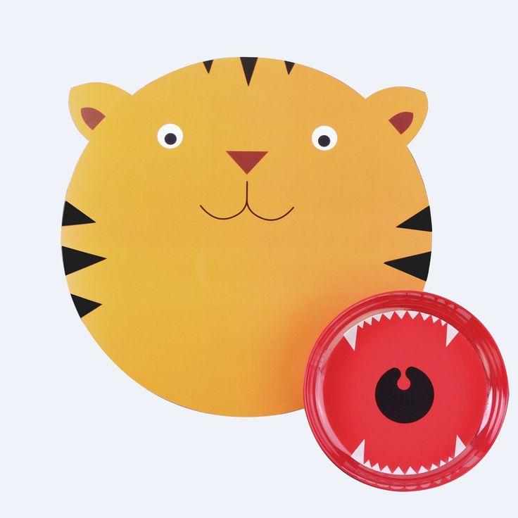 DOIY Set de table et assiette tigre Jaune